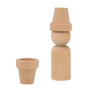 #20 Wood Man Peg Doll with a #3091A wood flower pot